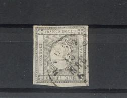1300B - Stati Sardi 2 Cent. Cifra A Rilievo - Valore Complementare - Grigio Nero - Sardegna