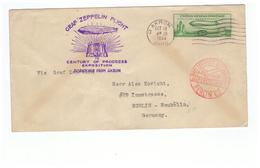 USA Graf Zeppelin Flight Cover 1933 Akron Lettre Cachet Rouge Mit Luftpost Berlin - Etats-Unis