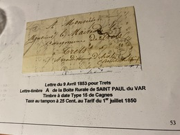 LETTRE  Du 9/4/1853- Pour  TRETS  ( Descriptif General Voire Scan Lettre ) - Port Offert - Marcofilie (Brieven)
