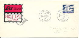 Norway FDC 24-2-1961SAS 10th Anniversary With Cachet - FDC