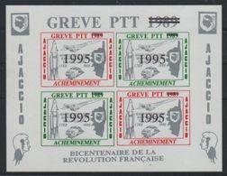 RARE BLOC DE 4 TIMBRES DE GRÈVE 1995 2 AJACCIO CONCORDE - Strike Stamps