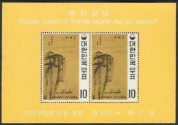 Korea, 1970, Art, Paintings Of Yi Dinasty, Souvenir Sheet - Korea, South