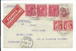 Belgien P 146 - 1 Fr. Löwe M. 3,50 Fr Zusatz Per Express V. Brüssel Nach Aachen Bedarfsverwendet - Ganzsachen