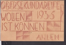 Obersekundareife  Ahlen 1935 Stempel Oelde , Absolvia , Schule .. - Ahlen
