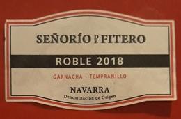 ETIQUETA VINO SEÑORIO DE FITERO - ROBLE 2018. USADO - USED. - Vino Tinto