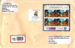 Colombia 2014 Sobre (25x16cm) Circulado Bogotá - La Paz. MP Navidad 2013. YT1666 Bicentenario - Colombia