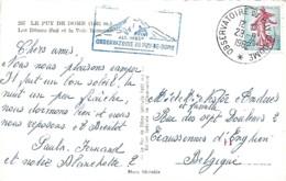 Oblitération Observatoire Du Puy De Dôme Sur Timbre N° 1233 (sur Carte Postale) - 1961-....