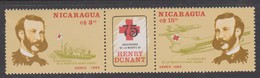 Nicaragua Sc C1128-9 1985 Henri Dunant, Mint Never Hinged,short Perforation - Airplanes