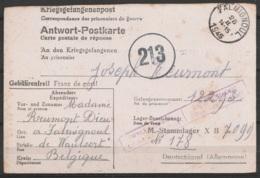 Antwort-Postkarte Càd FALMIGNOUL /26 II 1945 Pour Prisonnier Belge Au Stammlager X B (Allemagne) Cachet Censure Belge + - Guerra 40 – 45