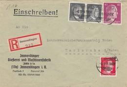 Einschreiben Immendingen Gießerei Und Maschinenfabrik Nach Karlsruhe 1944 - Deutschland