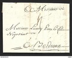 Charente Infre-Lettre Avec Marque DE LA ROCHELLE-1734-Pour Bordeaux - Storia Postale