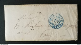 Lettre Avec Cachet Bleu Paris Distribution.Au Dos, Cachet De Levée - Poststempel (Briefe)