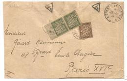 TAXE 20C PAIRE BDF+10C PARIS 1918 DEVANT LETTRE TRESOR ET POSTES - Storia Postale