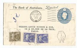 TAXE GERBES 20FR+1FRX2 PARIS 1951 SUR ENTIER ENVELOPPE COVER ENGLAND LONDON FS REPIQUAGE THE BANK OF AUSTRALASIA - Storia Postale