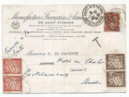 IRIS 80C BRUN SEUL CARTE Leger Pli ST ETIENNE MANUFACTURE 19.11.1941 LOIRE  POUR ALLIER REEXP AUDE TAXE 30CX2+10CX2 - 1939-44 Iris