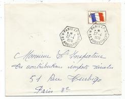 FM DRAPEAU LETTRE C. HEX PARIS 47 A R ST AUGUSTIN (2e) 22.4.1970 - Franchigia Militare (francobolli)