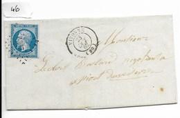 Lettre Napoléon 20 C Non Dentelé, Losange 3667, Vivonne Vers Niort 1862 - 1849-1876: Période Classique