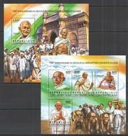 RR717 2015 CENTRAL AFRICA CENTRAFRICAINE 100TH ANNIVERSARY RETURN TO MAHATMA GANDHI KB+BL MNH - Mahatma Gandhi