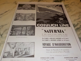ANCIENNE PUBLICITE CROISIERE COSULICH LINE  LE SATURNIA 1927 - Bateaux