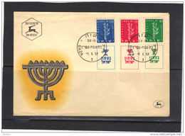 ISRAEL 1957 FDC, TIMBRES AVEC TABS OBLITERATION GAZA. (3CF209) - FDC