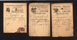 """Courseulles Sur Mer 14 / 3 Petites Factures Différentes Boucherie Parisienne """" L. Grudé """" 1931 1934 1934 - France"""