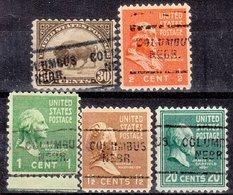 USA Precancel Vorausentwertung Preo, Locals Nebraska, Columbus 703, 5 Diff., Perf. 11x10 1/2 - Vereinigte Staaten