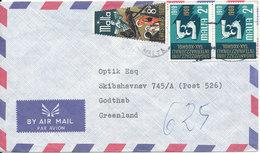 Malta Air Mail Cover Sent To Greenland 1969 - Malta