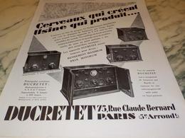 ANCIENNE PUBLICITE CERVEAUX QUI CREENT  DUCRETET 1927 - Autres