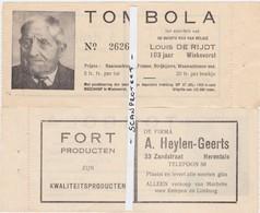 WIEKEVORST-ORIGINEEL-TOMBOLABILJET-LOUIS DE RIJDT-OUDSTE MAN VAN BELGIE-1952-VERSO-RECLAME-FIRMA HEYLEN-HERENTALS-MOOI ! - Heist-op-den-Berg
