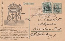 Occupation Allemande En Belgique Entier  Postal Illustré Censuré Lüttich Thème Cuir 1916 - Occupation 1914-18