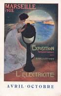 Pub Publicité Cpa Marseille 1908 L' Electricité Exposition Internationale Des Applications - Publicité