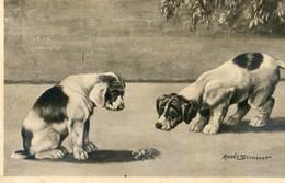 Deux Chiots Devant Une Lucane - Illust : Maude  Scrivenet - Chiens