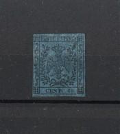 1396B - Antichi Stati - Ducato Di Modena 40 C.  Con Punto - Nero Su Azzurro Anno 1852 - Modena