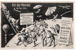 FIN DU MONDE *19 MAI 1910 * ECHELLE SAUVETAGE * BALLON DIRIGEABLE * PHOTO *  HUMOUR * CARTE OFFICIELLE * F.M. COLOGNE - Humor