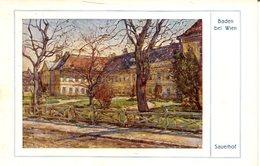 Baden B. Wien - Sauerhof  Künstlerkarte  (008076) - Baden Bei Wien
