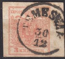 Austria 1850's - K.u.K. 3 Kr. Mi. 3 Y III RANDSTÜCK, Large Margins, Temesvár / Timisoara (Now Romania). - 1850-1918 Empire