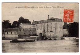 CPA Villeneuve Lot Et Garonne 47 Le Moulin De Cajac  Usine Production Electricité Bateau Péniche Gabarre éditeur Lacoste - Villeneuve Sur Lot