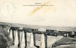 Maroc - Pont Sur L'Oued Bou-Ladjeraf Entre M'coun Et Taza - Train à L'arrêt Sur Le Pont - Tampon Militaire - Autres