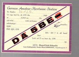 1948 Retro Radio Deutschland Hans-Ulrich Schnacke Papenburgerstrasse Leer Ostfriesland (QSL2-3) - Radio Amateur