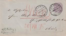 Wuerttemberg / 1875 / Ganzsachenumschlag Mi. U 23A Stegstempel Stuttgart (5108) - Wurttemberg