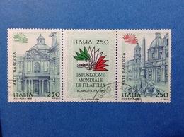 1985 ITALIA ESPOSIZIONE MONDIALE 85 ARTE BAROCCA 250 LIRE TRITTICO FRANCOBOLLI USATI ITALY STAMPS USED - 6. 1946-.. Repubblica