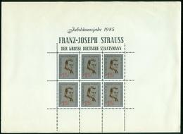 Vi Vignette Sheet Germany, Jubiläumsjahr 1985 Franz Josef Strauss Der Grosse Deutsche Staatsmann - Erinnofilia