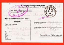 X60176 BEAUVAIS 03-1944 De Professeur Gaby FRAUDET à André JOUVION Prisonnier Guerre N°16611-FZ -IA STALAG HÖHENSTEIN - Beauvais