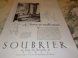 ANCIENNE PUBLICITE MEUBLES MODERNES MAGASIN SOUBRIER   1927 - Autres
