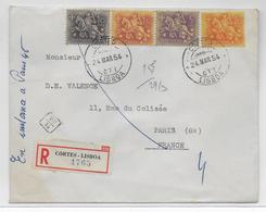 1954 - PORTUGAL - LETTRE RECOMMANDEE De CORTES - LISBOA => PARIS (CACHET De FACTEUR) - 1910-... Republic