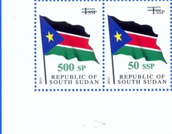 SOUTH SUDAN Surcharge Overprint ERROR On The 50 SSP OP On 1 SSP Flag: 500 SP Südsudan Soudan Du Sud - Sud-Soudan