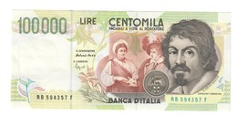 100000 Lire CARAVAGGIO 2° TIPO SERIE B 1995 Q.FDS ( DISPONIBILI 2 CONSECUTIVI ) LOTTO 889 - [ 2] 1946-… : Républic