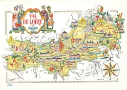 Carte Geographique Val De Loire Illustration Jacques Liozu CPM - Landkaarten
