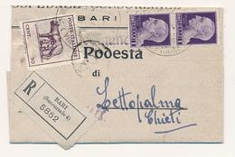1945  LUOGOTENENZA LUPA DI BARI SU RACCOMANDATA - 5. 1944-46 Luogotenenza & Umberto II