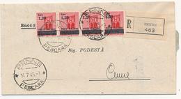 1945  LUOGOTENENZA RACCOMANDATA X DISTRETTO STRISCIA PURA DI 4 1,20/0,20 SOVRASTAMPA SPOSTATA IN ALTO - 5. 1944-46 Luogotenenza & Umberto II